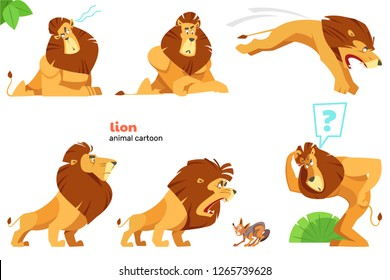 Set of cute lion character with different action poses, isolated on white background