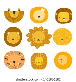 Set of cute lion faces. Kids graphic for print or poster. Vector hand drawn illustration.