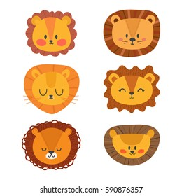 Set of cute lions. Funny doodle animals. Little lion in cartoon style. Vector illustration