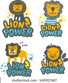 Set of cute lions hand drawn in children style. Vector illustration. Stickers for wall decor or prints om poster.