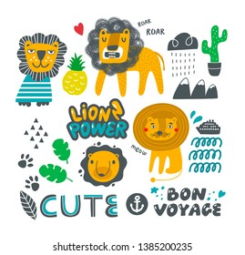 Set of cute lions and nature elements. Tropical leaves and fruits, wild nature animals in the collection of vector illustrations.