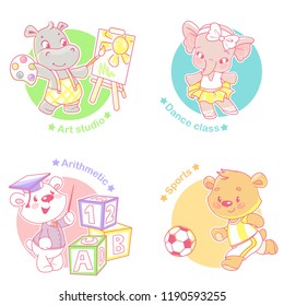 Set with cute little animal kids. Active boys and girls dance, play, learn, draw, Different activities.  kindergarten. Funny cartoon character. Vector illustration. Isolated on white background.