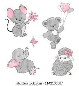 Set of cute little animals. Vector illustration for kids.