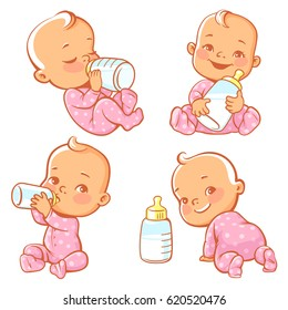 Set with cute little baby with bottle of milk. Newborn baby girl in pink pajamas drink milk.. Feeding newborn with formula or mother's milk. Happy toddler smile, crawl, sit, lie. Vector illustration.
