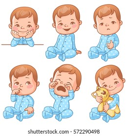 Set with cute little baby boy in blue pajama with different emotions. Various face expressions. Happy child, crying boy, sick baby, one year old smiling toddler hold plush toy, sick  Colorful vector
