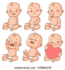 Set with cute little baby in diaper with different emotions. Various face expressions. Happy child, baby cry, toddler hold heart, sick child, sad boy, crying girl, screaming baby. Colorful vector.