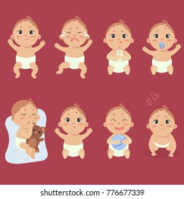 Set with cute little baby in diaper with different emotions. Various face expressions. Happy child, baby cry, hold teddy bear, sleeping child, sad boy, crying boy, screaming baby. Colorful vector.