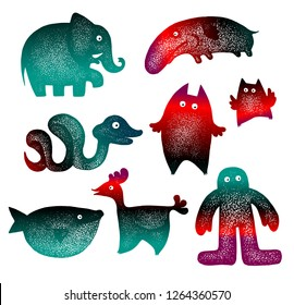 Set of cute little cartoon animals silhouettes: elepant, snake, monster, owl, whale, cock, man . Hand drawn vector illustration