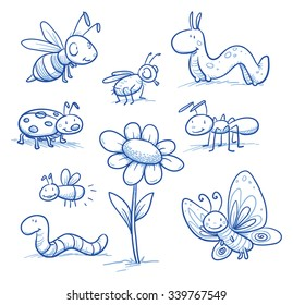 Set of cute little cartoon insects and small animals: Bugs, bee, worm, caterpillar, butterfly, ant and flower. For children or baby shower cards. Hand drawn vector illustration.