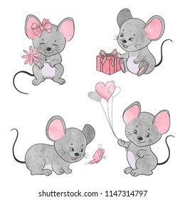 Set of cute little cartoon mice. Vector watercolor mouse collection.