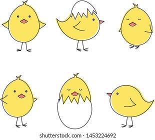 Set of cute, little chicken
