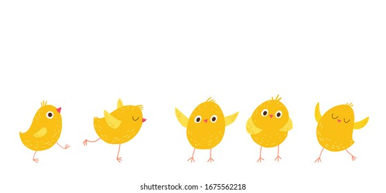 Set of cute little chickens. Cartoon vector hand drawn eps 10 illustration isolated on dark background in a flat style