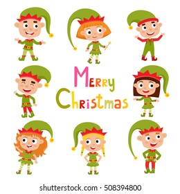 Set of cute little Christmas girls and boys elf smiling, vector illustration isolated on white used for magazine or book, poster and card, web pages.