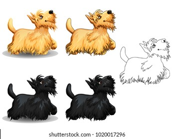 The set of cute little dogs of a Scottish Terrier, yellow and black colors. The variants of colorful and contour line art. A cartoon vector illustration isolated on white.