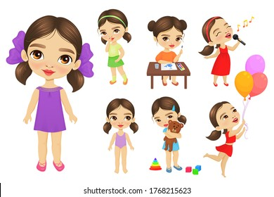 Set of cute little girl with big blue eyes in different situations. Lovely girl sings, plays toys, smiles, paints, stands in different clothes.