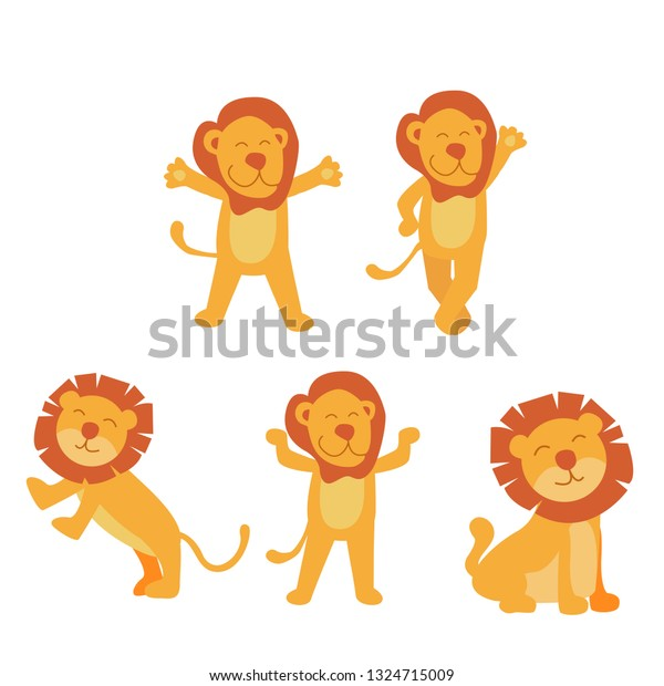 set of cute little lion in cartoon style on white background