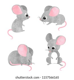 Set of cute little mice. Vector watercolor mouse collection.