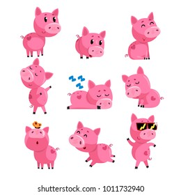 Set of cute little pig in different actions. Sleeping, dancing, walking, sitting, jumping. Cartoon character of pink domestic animal. Isolated flat vector design