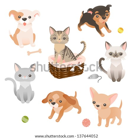 Set Cute Little Puppies Kitties Characters Stock Vector Royalty