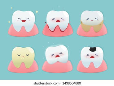 Set of cute little teeth on blue background - Total health and Dental problems - illustration and vector design
