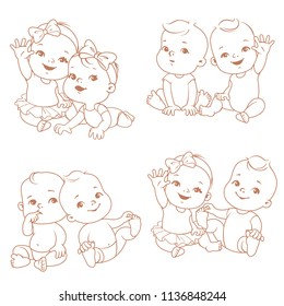 Set with cute little twin babies. Baby shower illustration.Twin girls and boys. Different pairs of siblings. Sister and brother sitting waving hands. Monochrome outline vector illustration.
