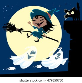 A set of cute little witch flying on a broomstick, black cat on a chimney, a couple of ghosts and the moon. Halloween cartoon vector illustration