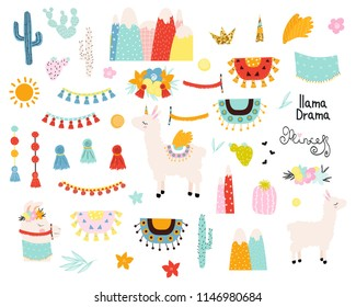 Set of cute llama elements and cactus. Vector hand drawn illustration.