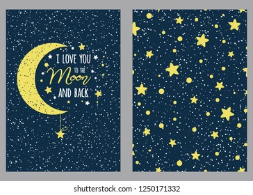 Set of cute love hand drawn greeting cards with lettering calligraphy text I love you to the moon and back. Cosmos background Illustrations, poster, banner, wedding design templates St Valentines day.