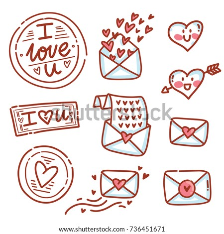 set of cute love letters envelopes and doodles icons symbols heart characters