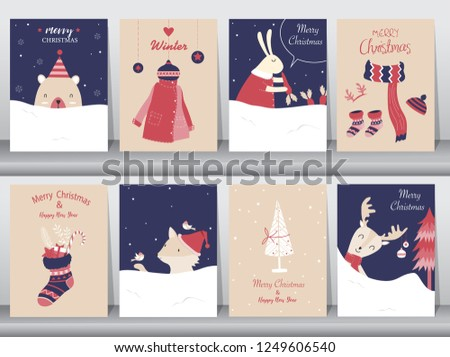 Set Cute Merry Christmas Background Cute Stock Vector