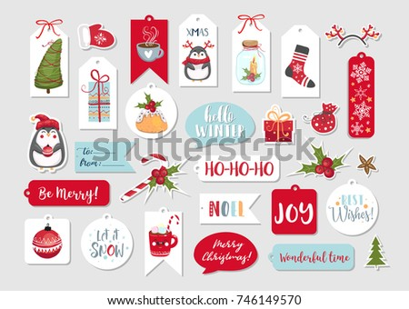 set of cute merry christmas and happy new year gift tags printable holiday cards templates
