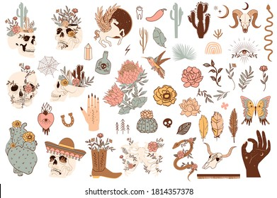 Set of cute mexico and wild west objects. Skulls, cactus, snake, horse, floral elements. Editable vector clipart illustration. - Shutterstock ID 1814357378