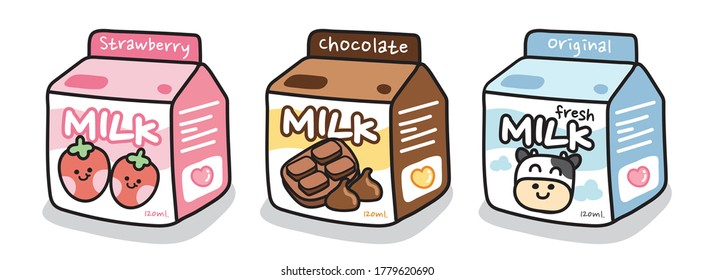 Set of cute milk box on white background.Cartoon beverage collection.Starwberry,chocolate,original fresh milk.Cow,Drinking.Image for sticker,baby product,decoration.Kawaii.Vector.Illustration.