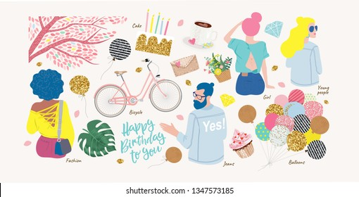 Set of cute modern fashion objects for congratulations on your birthday: a cake with candles, a guy in jeans, a woman, a bicycle, balloons, coffee, young people sitting back