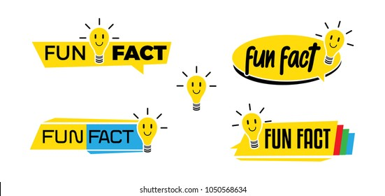 A set of cute modern light fun fact icon, symbol or logo in various style
