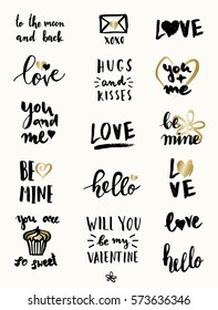 A set of cute and modern typographic designs for St. Valentine's Day. Hand drawn elements and lettering designs in black and gold, perfect for greeting cards, invitations, posters, mugs, etc.
