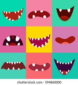 Set of cute monster mouth. Vector illustration.