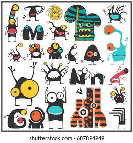 Set of cute monsters isolated on white. Collection of colorful character stickers for different use. cartoon illustration