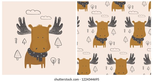 Set. Cute moose in forest pattern. Hand drawn vector illustration.