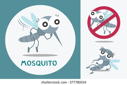 Set of cute Mosquito. Vector illustration