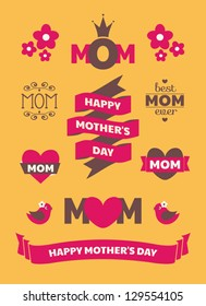 A set of cute Mother's Day design elements.