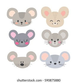 Set of cute mouses. Funny doodle animals. Little mouse in cartoon style. Vector illustration