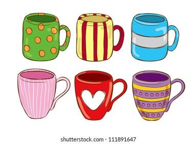 set of cute mug in doodle style