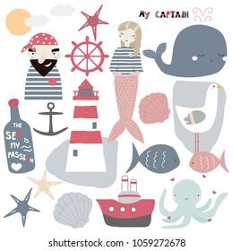 Set of cute nautical elements. Vector hand drawn illustration.