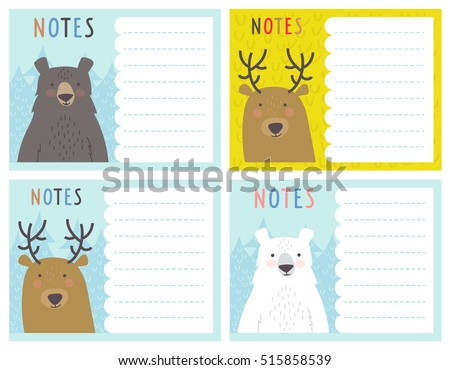 set cute notes cards winter vector stock vector royalty free