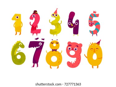 Set of cute number characters - zero, one, two, three, four, five, six, seven, eight, nine, cartoon vector illustration isolated on white background. Funny childish number characters, math symbols