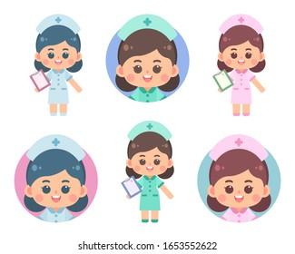 Set of cute nurse character design and avatar. Nurse holding a folder on white background. Flat vector cartoon illustration.