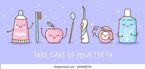 Set of cute objects for dental care on purple background - funny toothpaste, brush, apple, irrigator,  mirror, dental floss and mouthwash