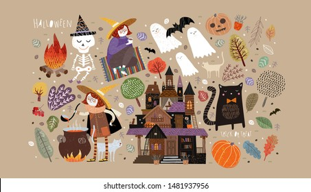 Set of cute objects for Happy Halloween. Vector illustrations of a castle, a witch, a ghost, a skeleton, a pumpkin, a bat, a pet cat, trees, plants and a bonfire with a potion