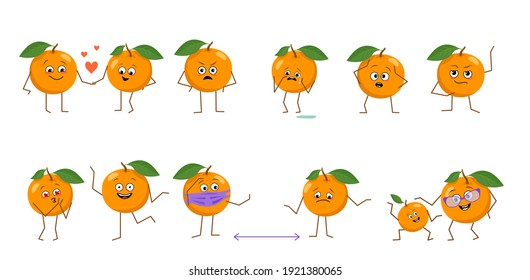 Set of cute oranges characters with different emotions isolated on white background. The funny or sad heroes, fruits have play, fall in love, keep their distance. Vector flat illustration